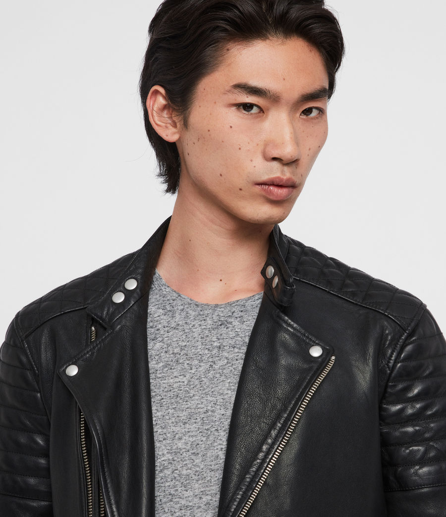 Mens Rigby Leather Biker Jacket (black) - Image 2