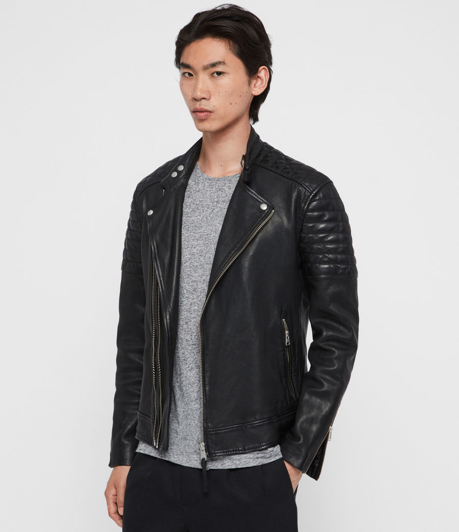 Men's Rigby Leather Biker Jacket (black) - Image 4