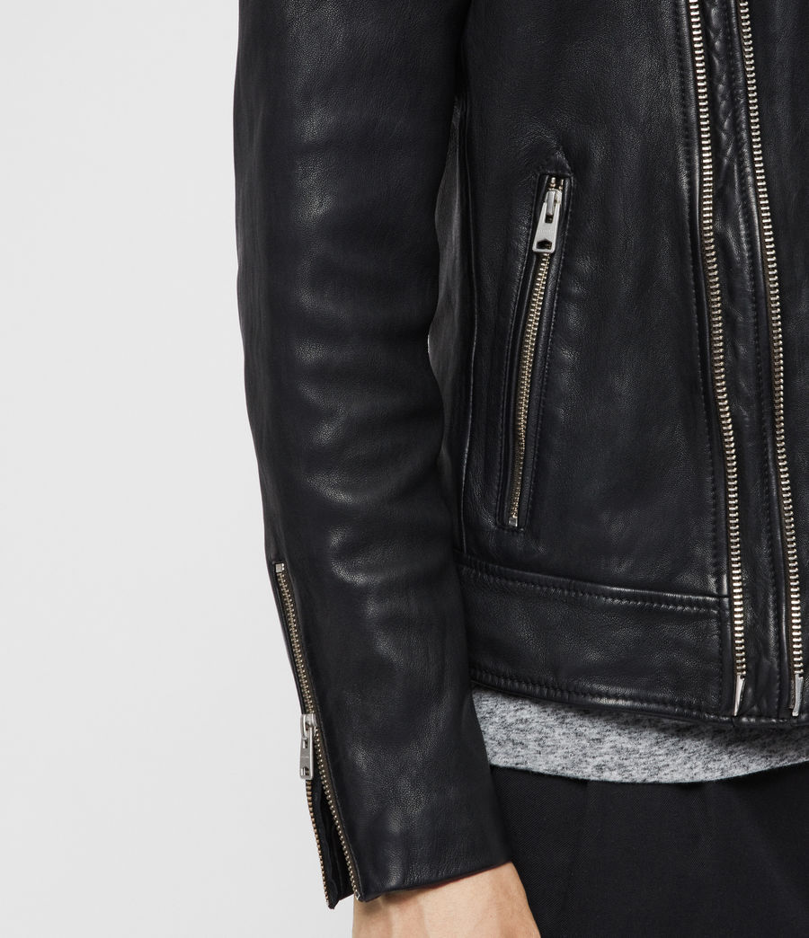 Men's Rigby Leather Biker Jacket (black) - Image 5