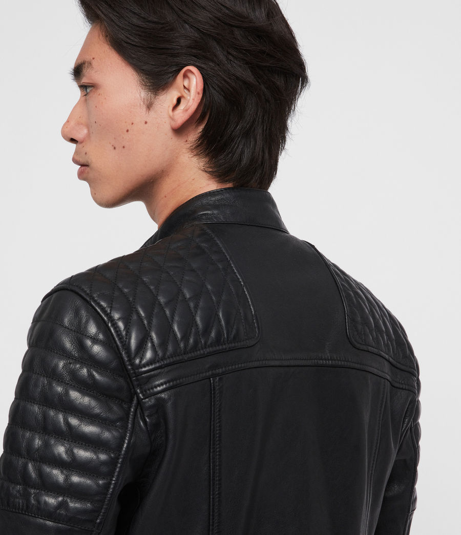 Men's Rigby Leather Biker Jacket (black) - Image 6