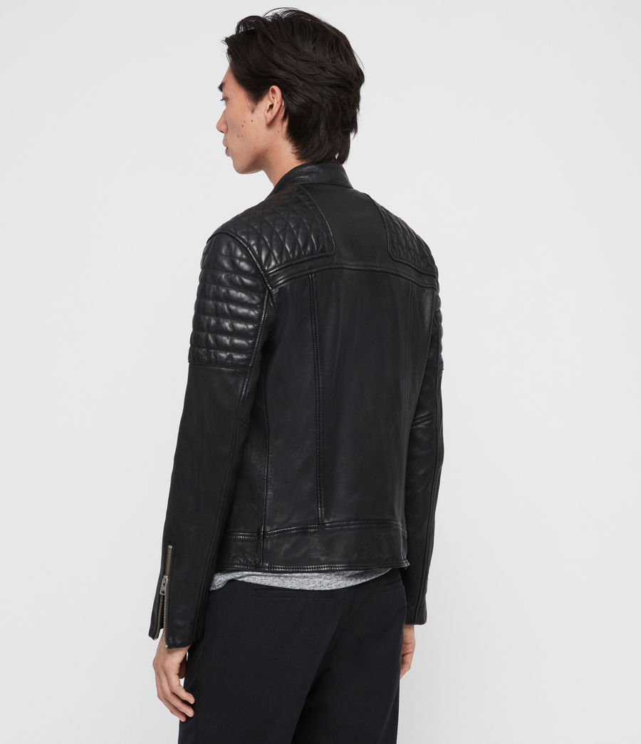 Men's Rigby Leather Biker Jacket (black) - Image 7