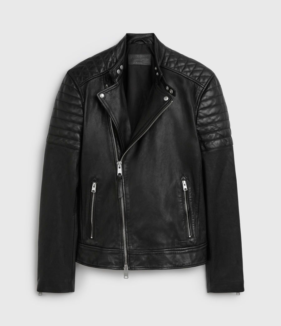Men's Rigby Leather Biker Jacket (black) - Image 8