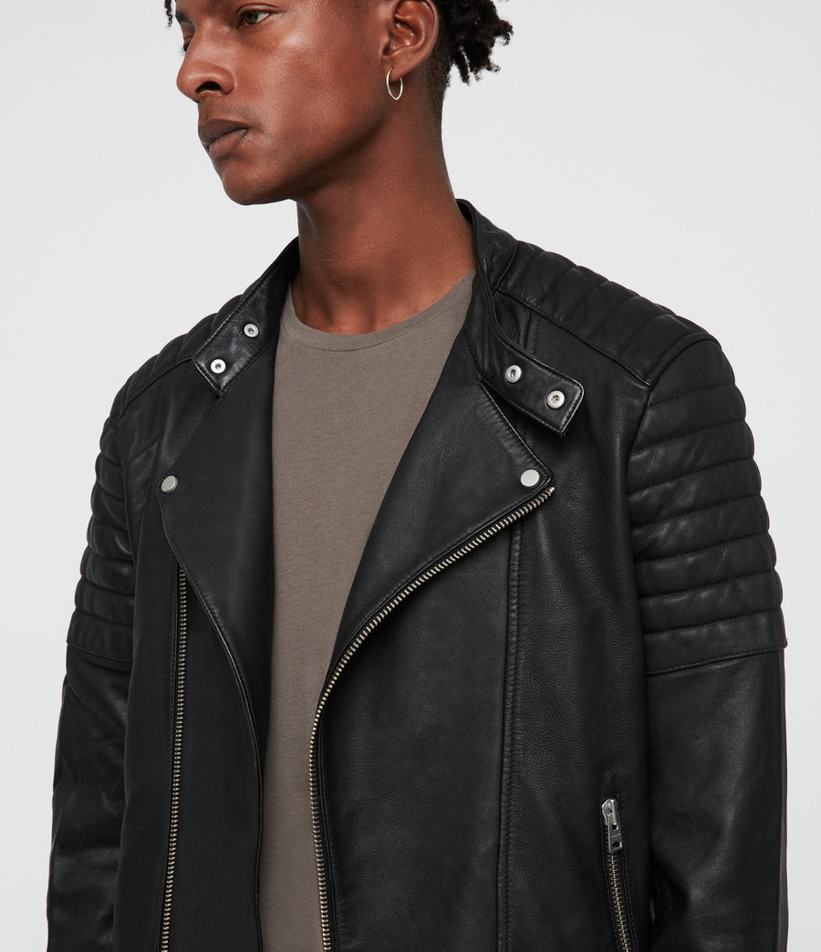 Mens Jasper Leather Biker Jacket (black) - Image 2