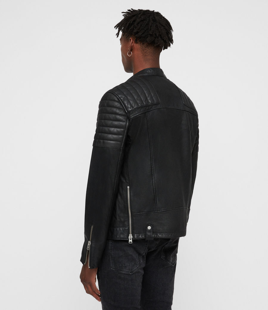 Men's Jasper Leather Biker Jacket (black) - Image 6