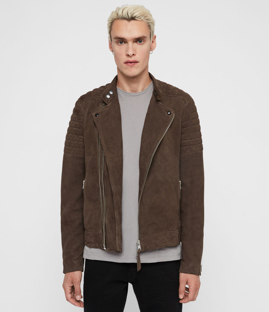Men's Rigby Suede Biker Jacket (dark_khaki_green) - Image 1