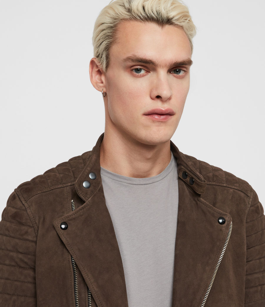 Men's Rigby Suede Biker Jacket (dark_khaki_green) - Image 2