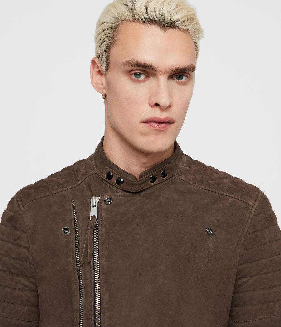 Men's Rigby Suede Biker Jacket (dark_khaki_green) - Image 3