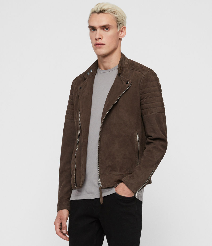 Men's Rigby Suede Biker Jacket (dark_khaki_green) - Image 4