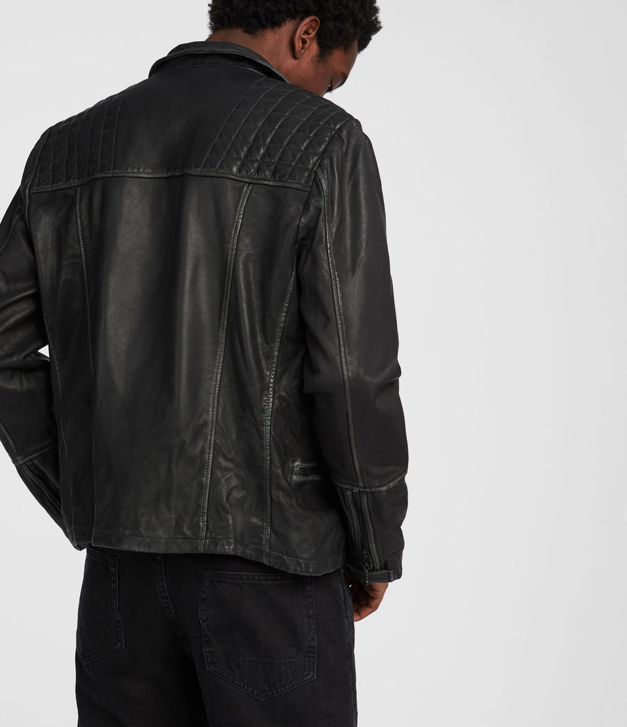 Men's Cargo Leather Biker Jacket (black_grey) - Image 4