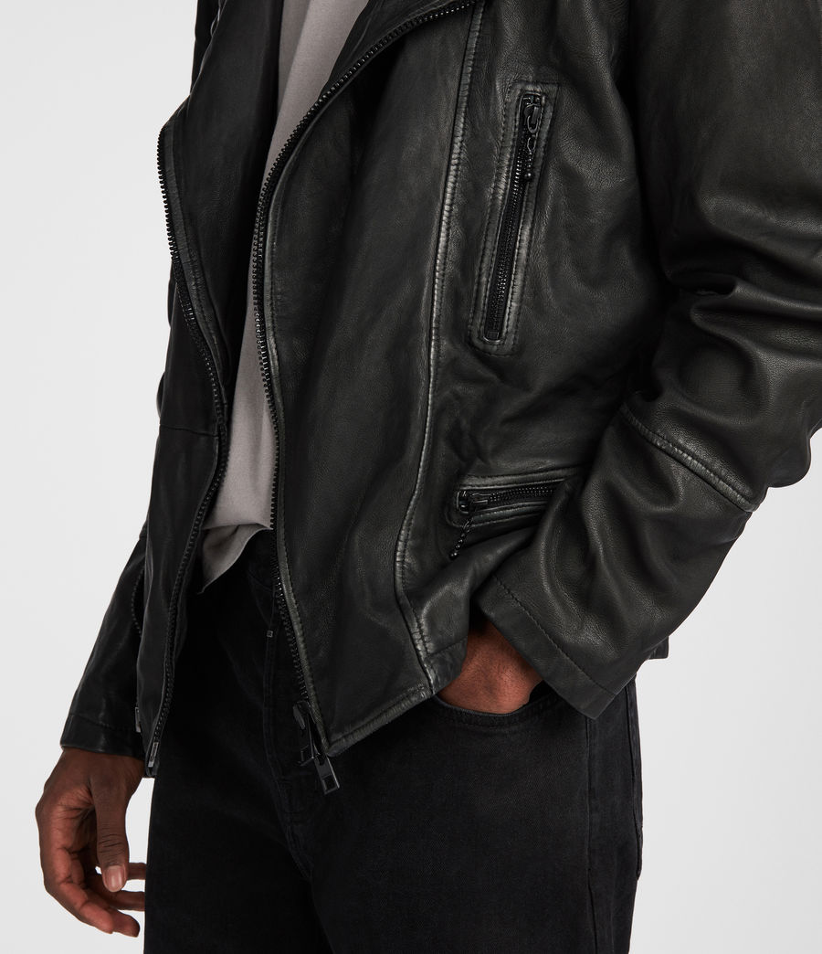 Mens Cargo Leather Biker Jacket (black_grey) - Image 5