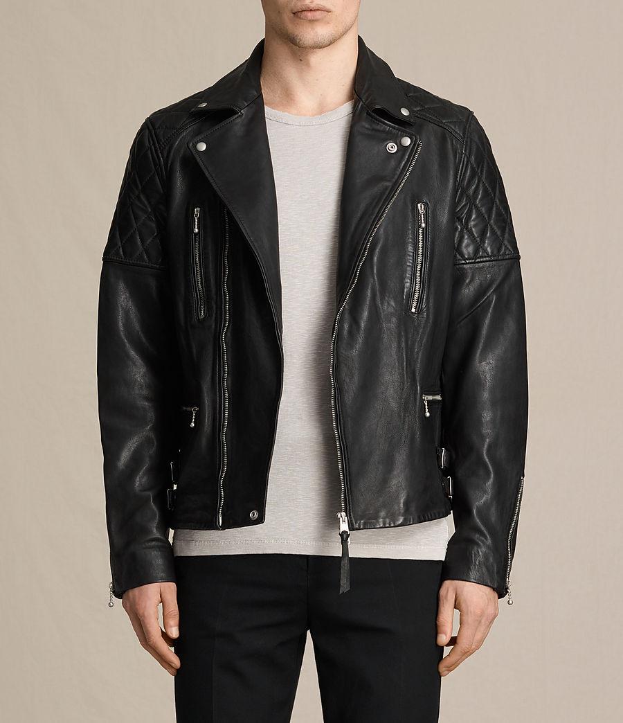 Mens Yuku Leather Biker Jacket (black) - Image 1