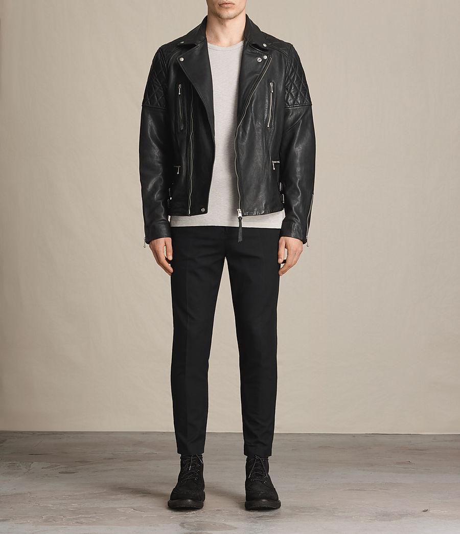 Mens Yuku Leather Biker Jacket (black) - Image 3