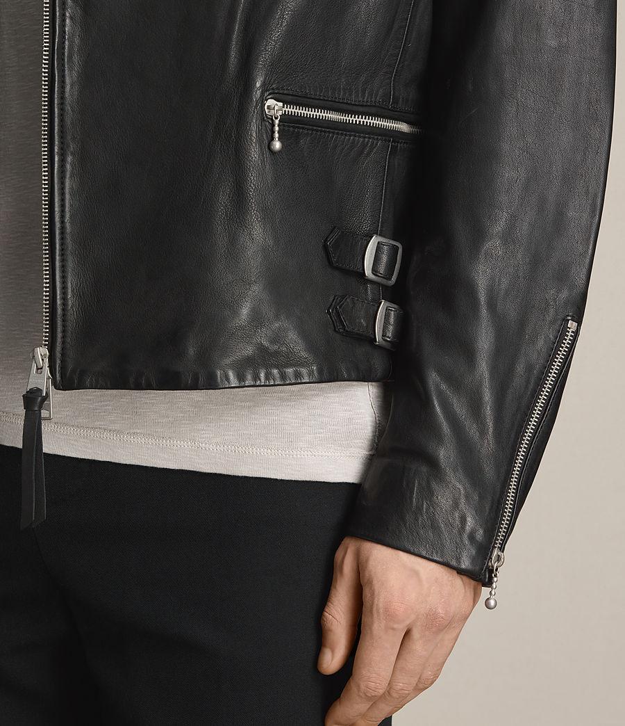 Mens Yuku Leather Biker Jacket (black) - Image 4