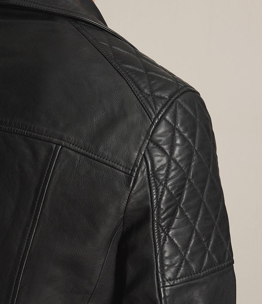 Mens Yuku Leather Biker Jacket (black) - Image 5