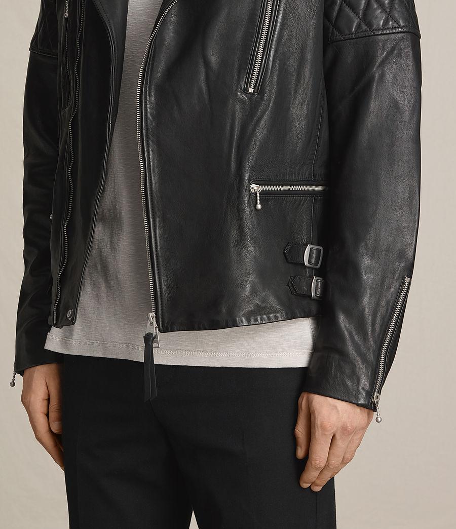 Mens Yuku Leather Biker Jacket (black) - Image 6