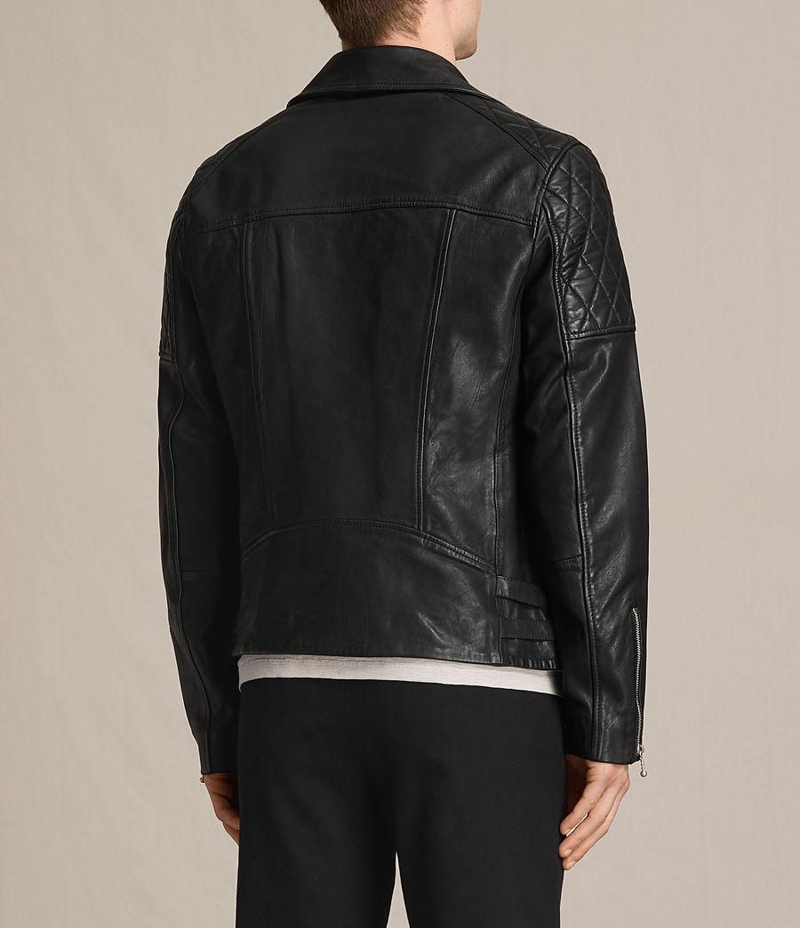 Mens Yuku Leather Biker Jacket (black) - Image 7