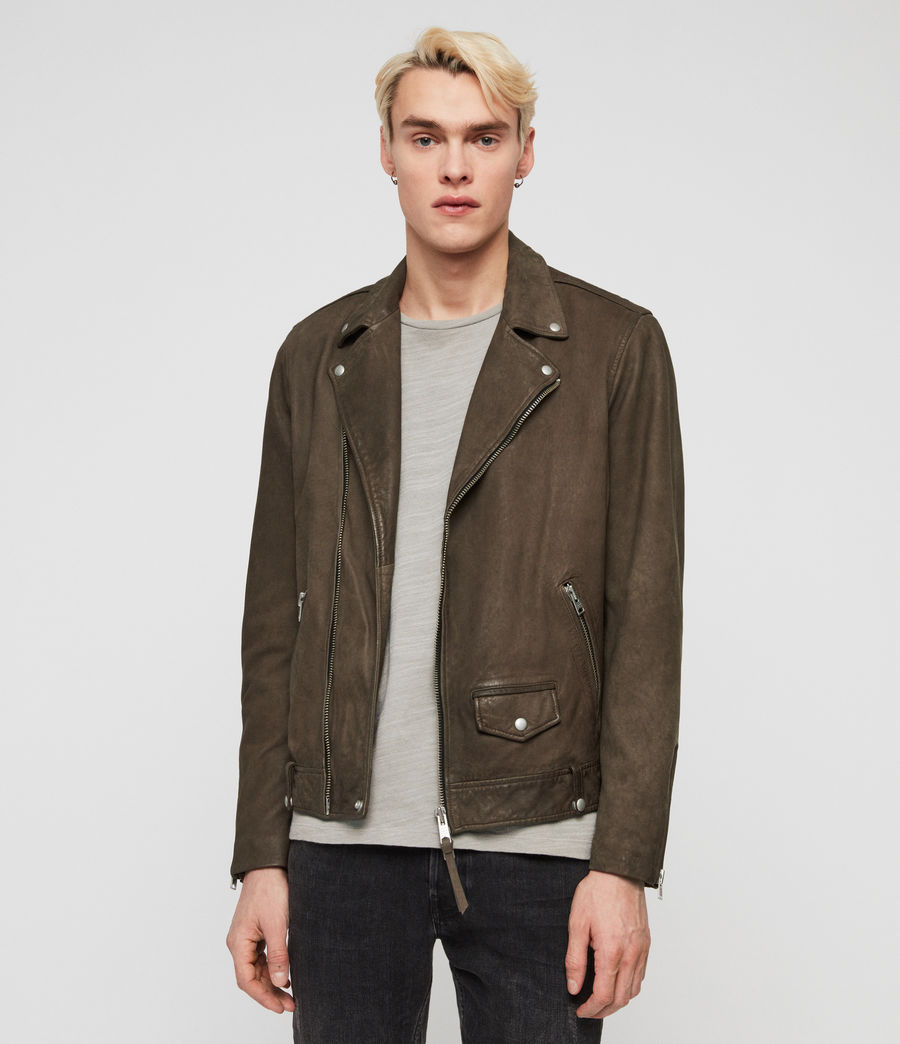 Mens Milo Leather Biker Jacket (army_green) - Image 1