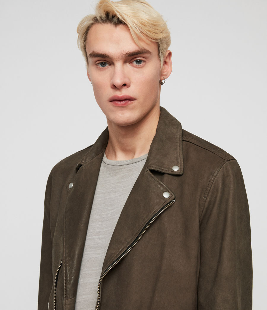 Men's Milo Leather Biker Jacket (army_green) - Image 2