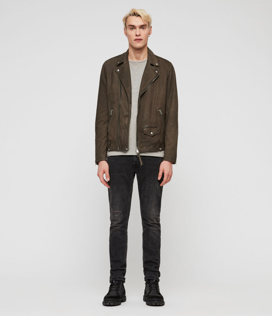 Mens Milo Leather Biker Jacket (army_green) - Image 3