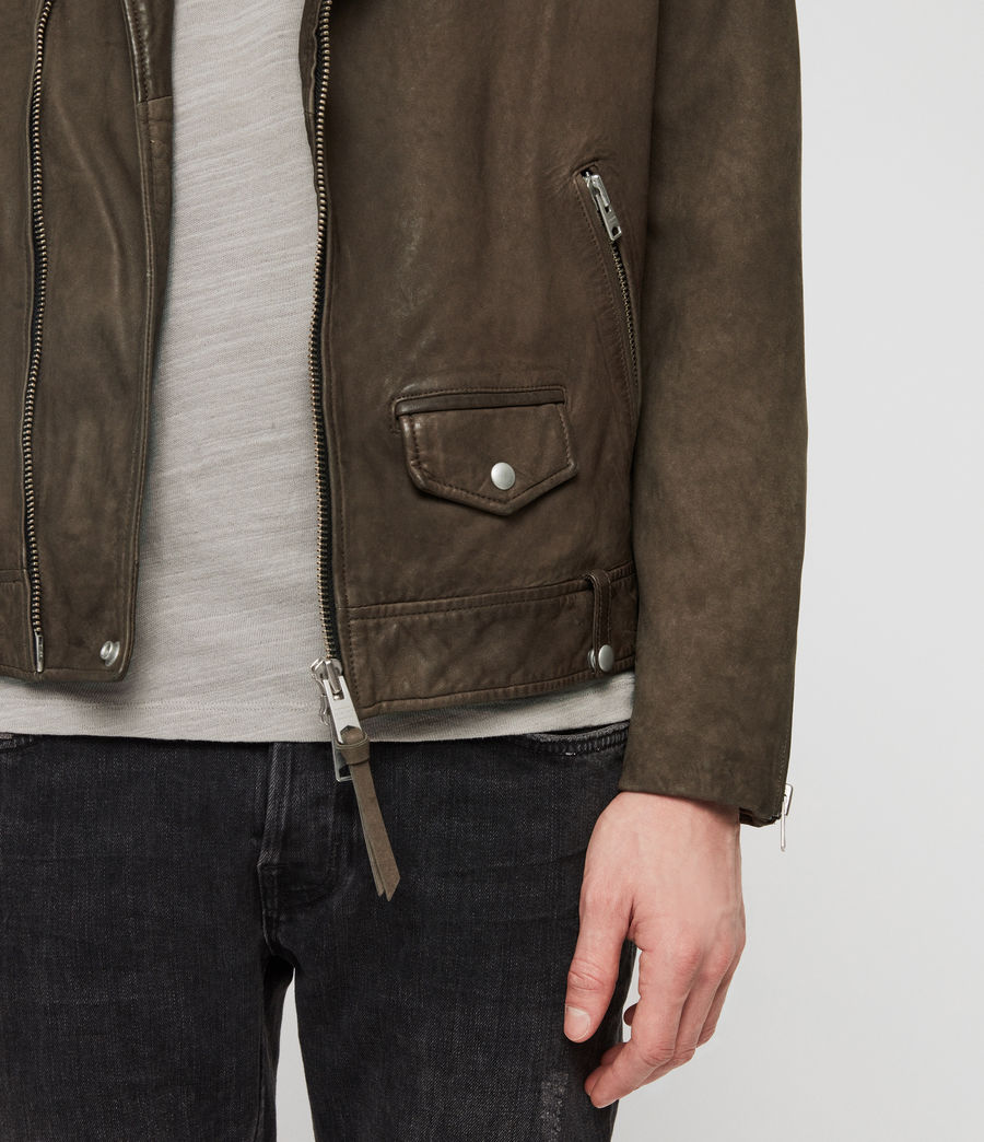 Mens Milo Leather Biker Jacket (army_green) - Image 4