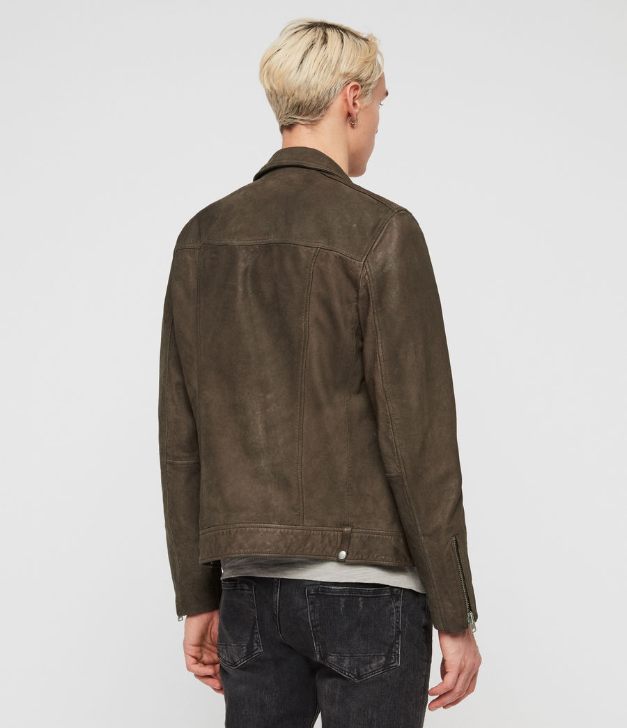 Mens Milo Leather Biker Jacket (army_green) - Image 5