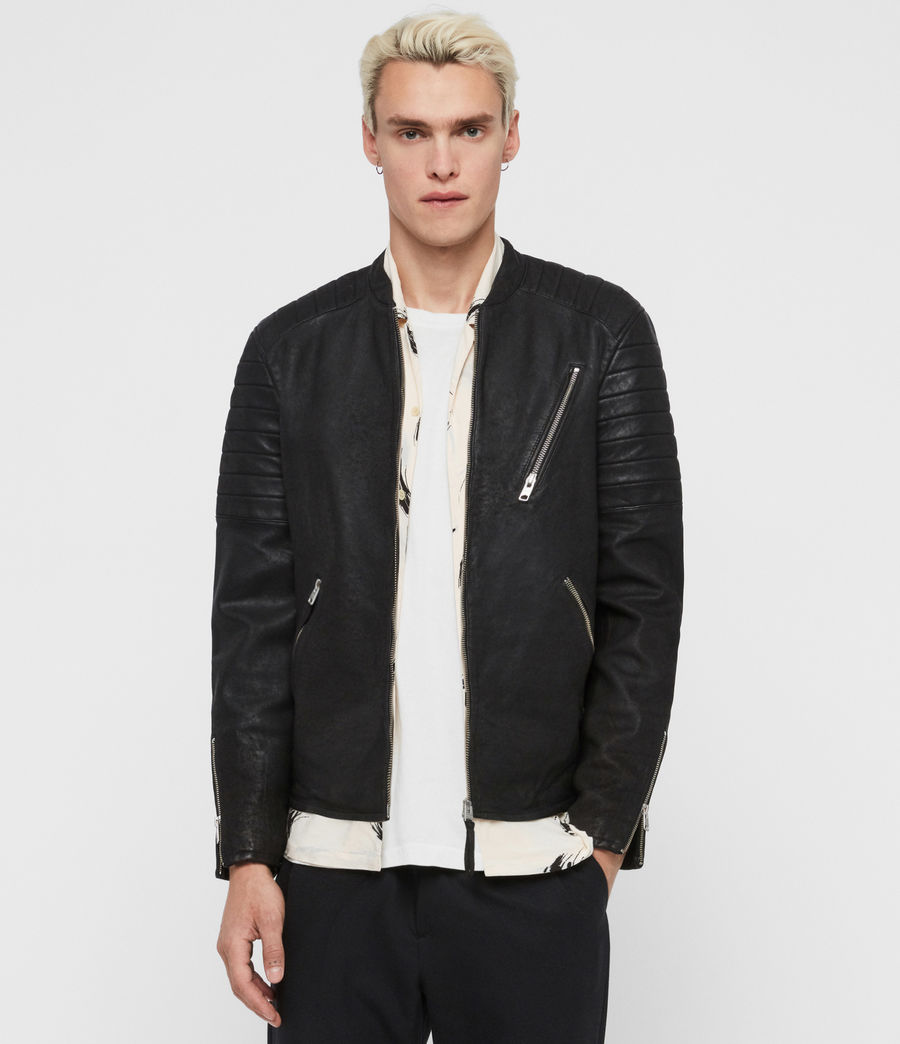 Mens Marsden Leather Biker Jacket (black) - Image 1