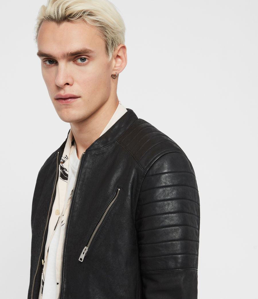 Mens Marsden Leather Biker Jacket (black) - Image 2