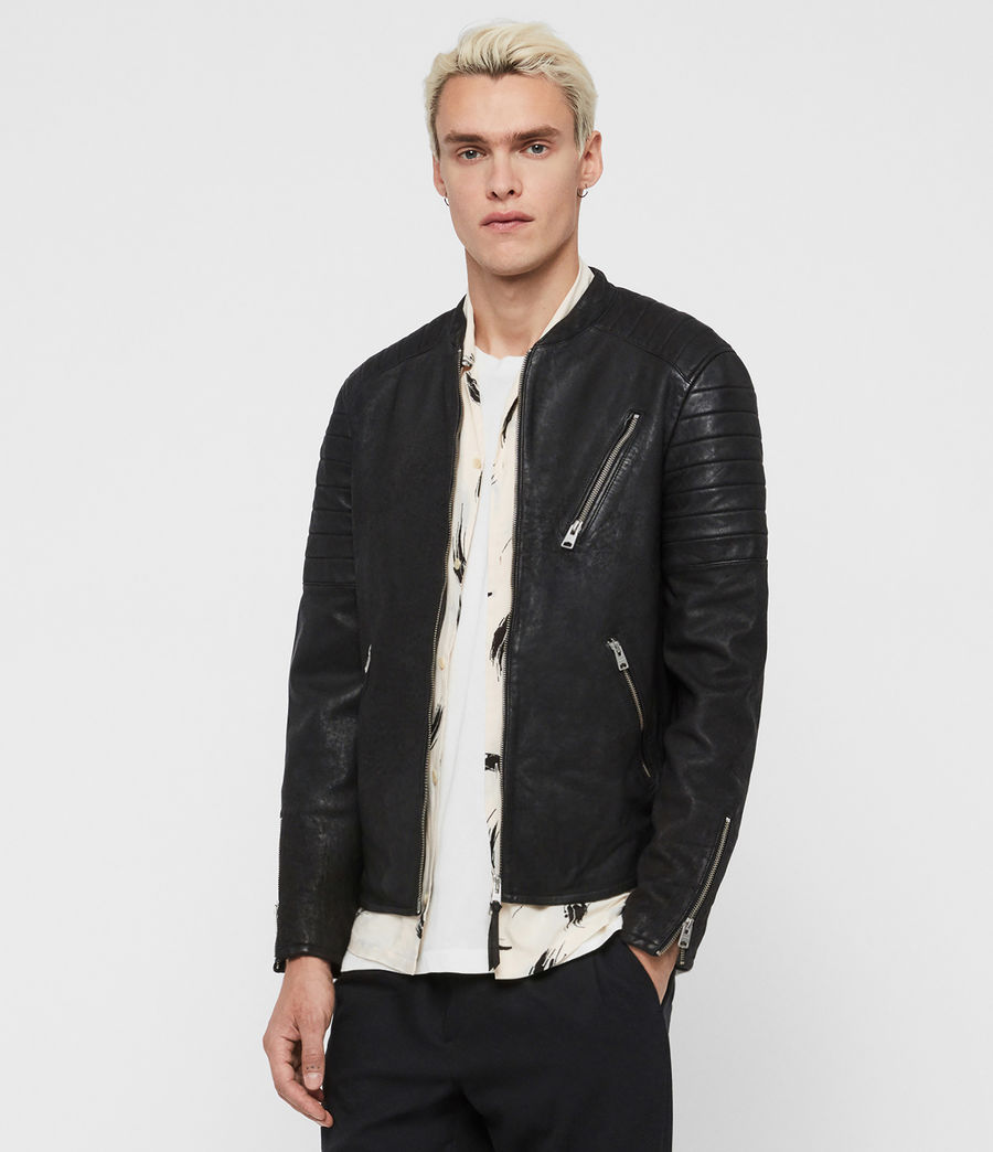 Mens Marsden Leather Biker Jacket (black) - Image 3