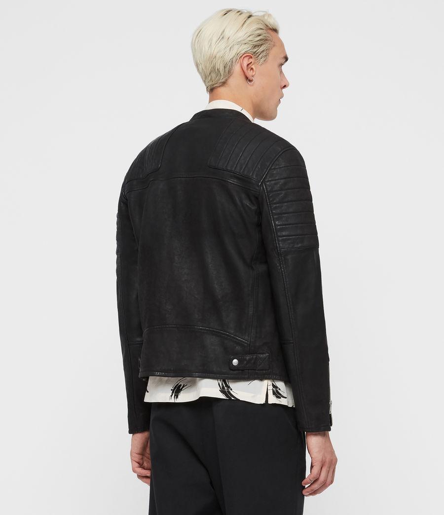Men's Marsden Leather Biker Jacket (black) - Image 4