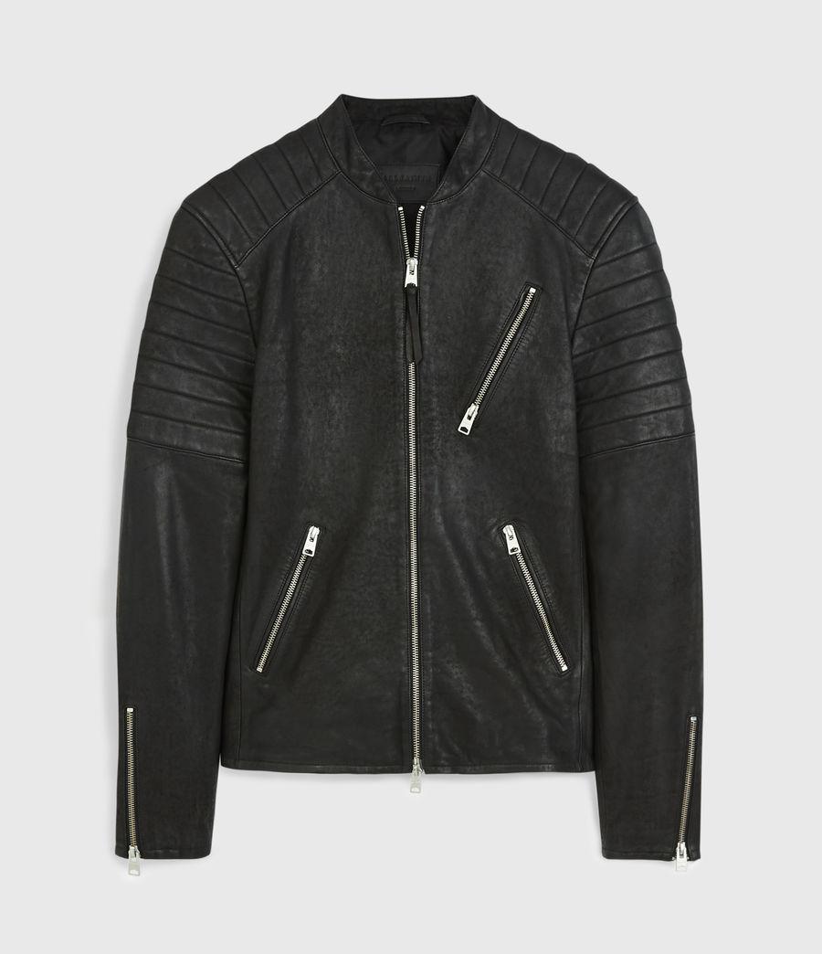 Men's Marsden Leather Biker Jacket (black) - Image 5