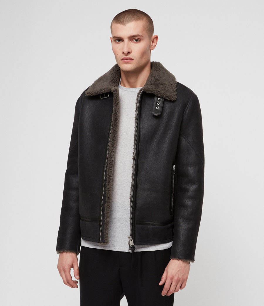 Mens Lowell Shearling Jacket (black_slate_grey) - Image 1