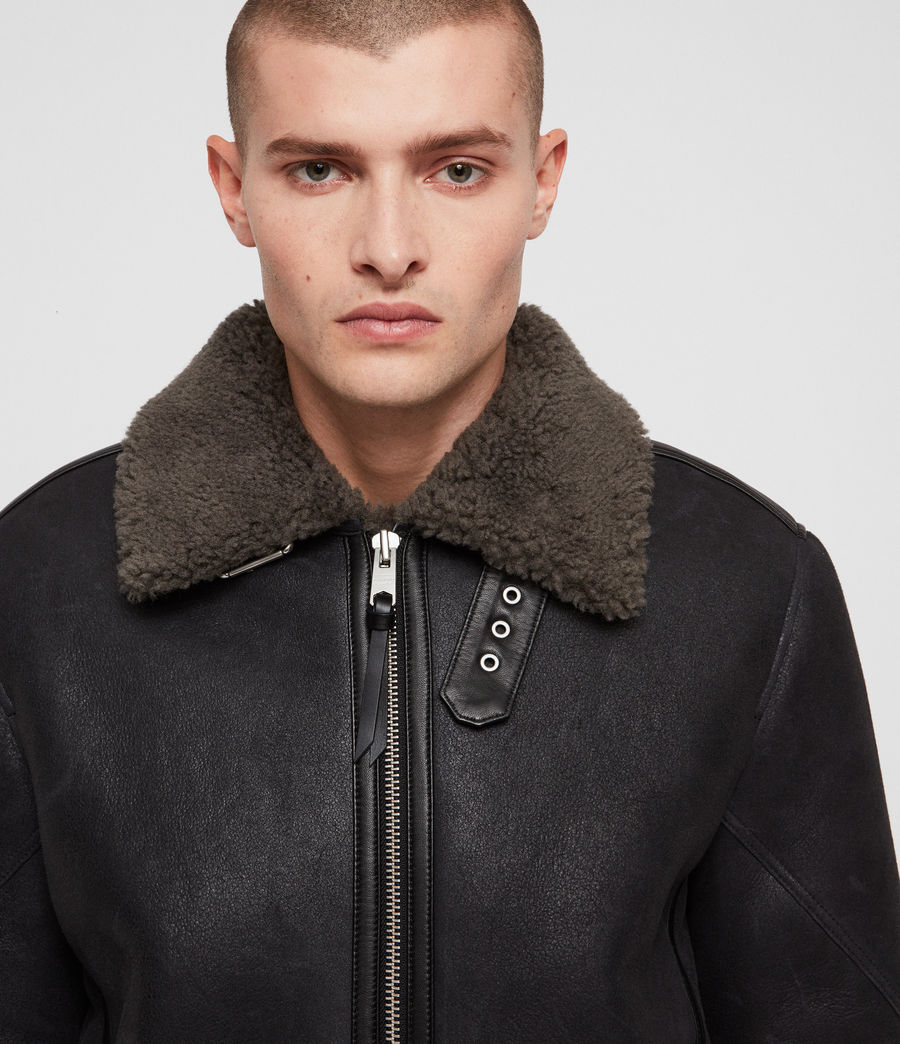 Mens Lowell Shearling Jacket (black_slate_grey) - Image 2