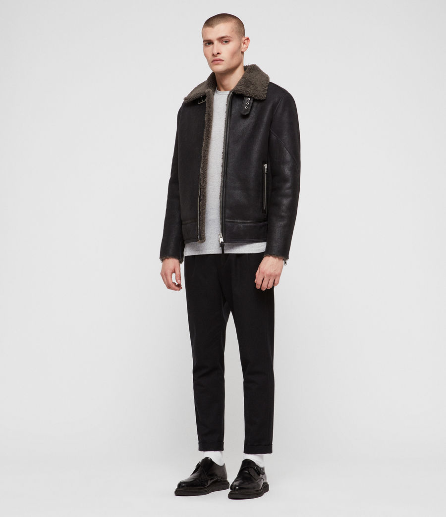 Mens Lowell Shearling Jacket (black_slate_grey) - Image 3