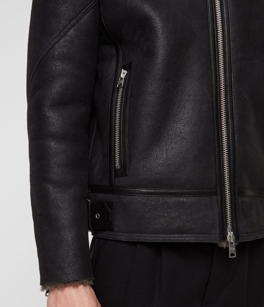 Mens Lowell Shearling Jacket (black_slate_grey) - Image 4