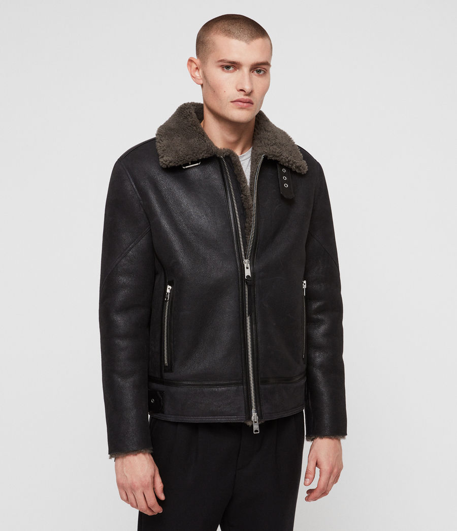 Mens Lowell Shearling Jacket (black_slate_grey) - Image 5