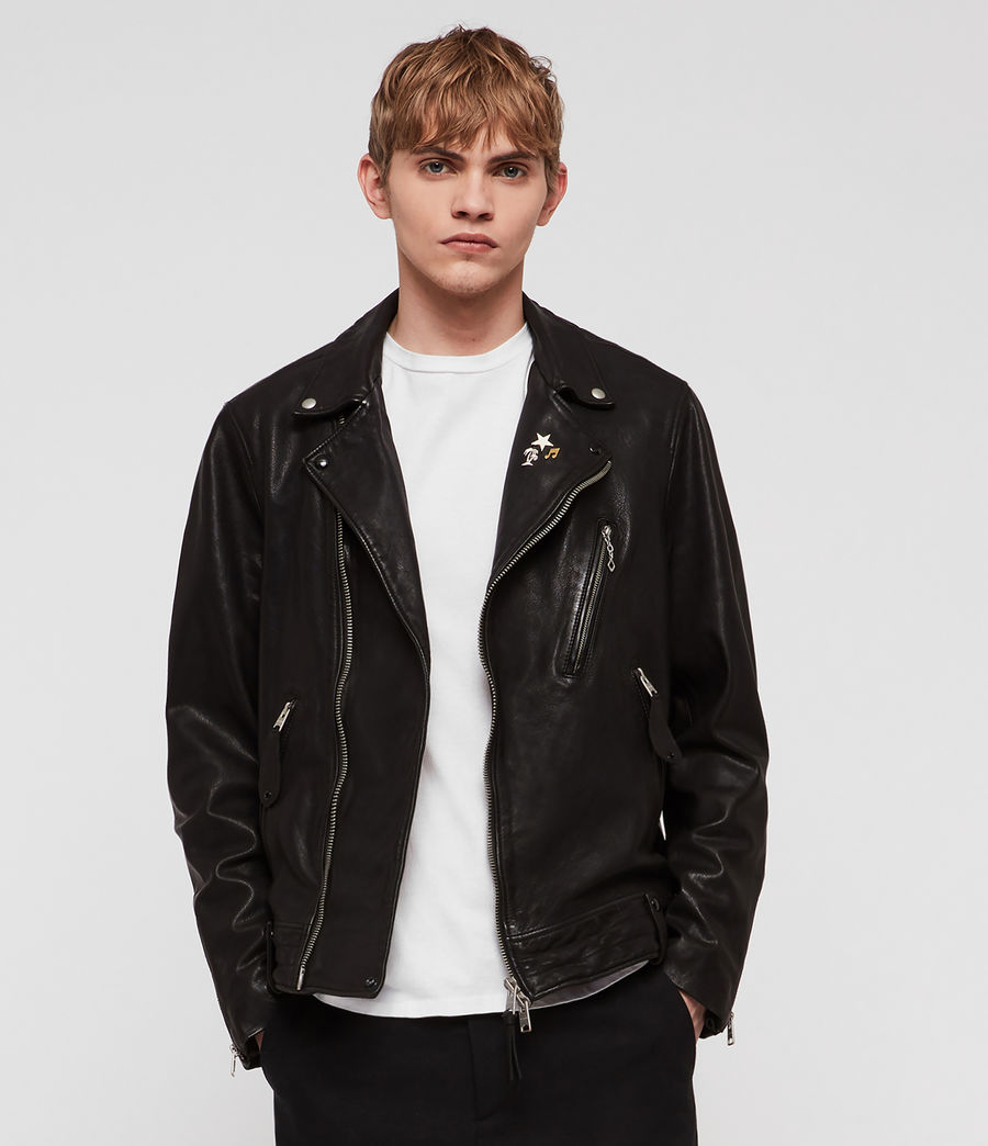 Men's Vice Leather Biker Jacket (black) - Image 1