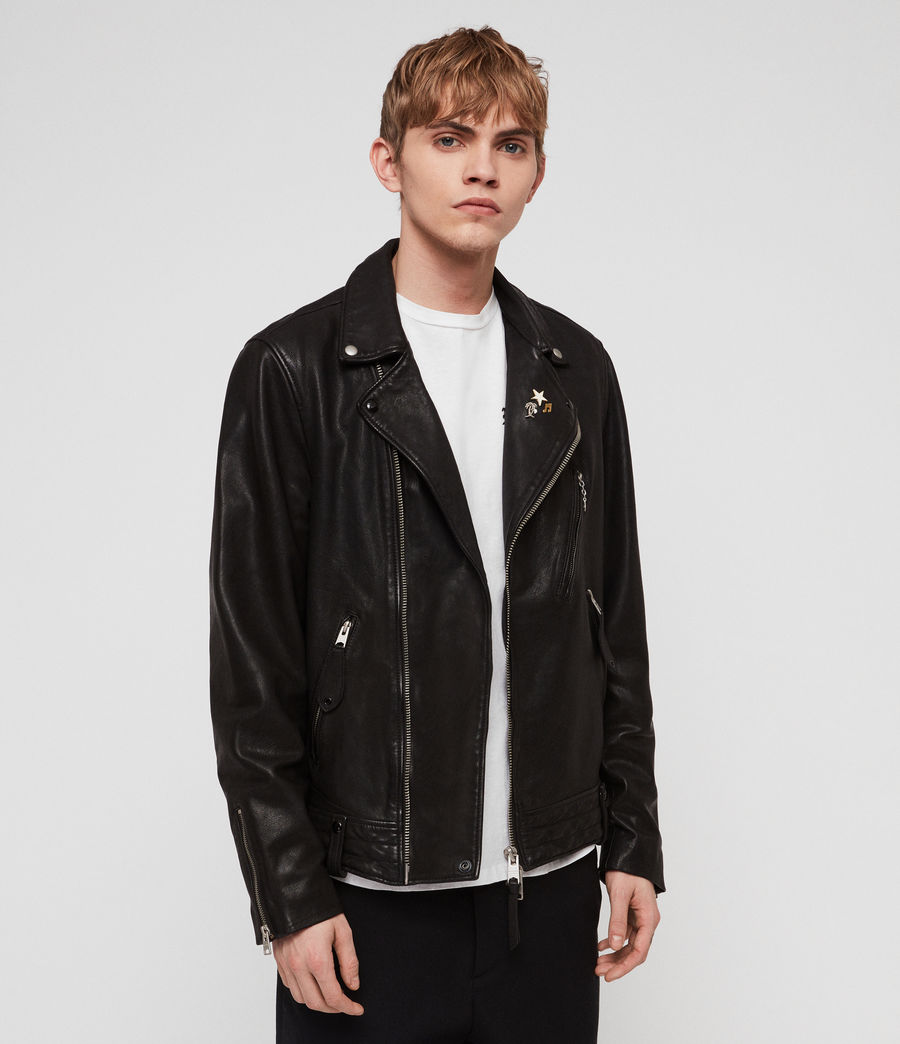 Men's Vice Leather Biker Jacket (black) - Image 3