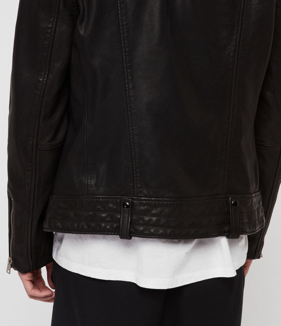 Men's Vice Leather Biker Jacket (black) - Image 5