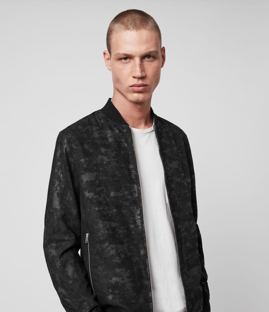 Hombres Kirk Leather Bomber Jacket (black) - Image 1