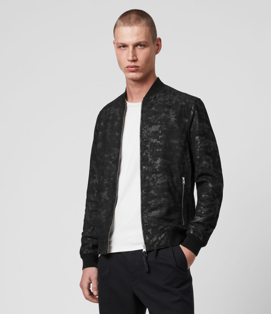 Mens Kirk Leather Bomber Jacket (black) - Image 2