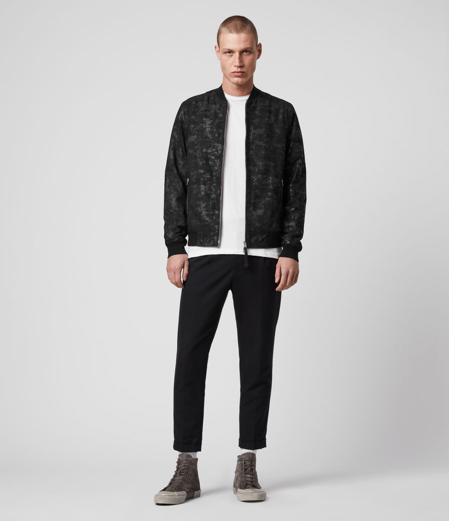 Mens Kirk Leather Bomber Jacket (black) - Image 3