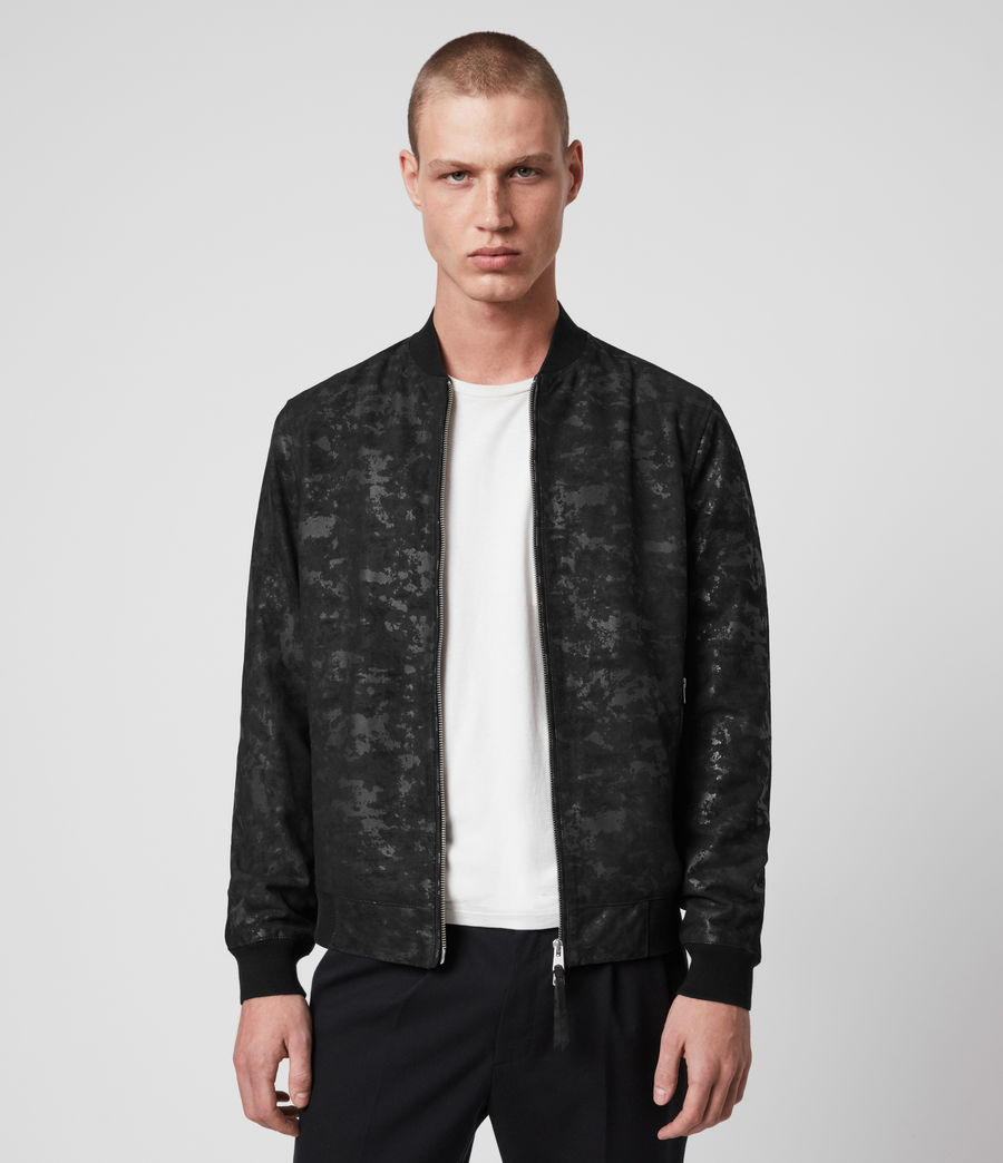 Mens Kirk Leather Bomber Jacket (black) - Image 4