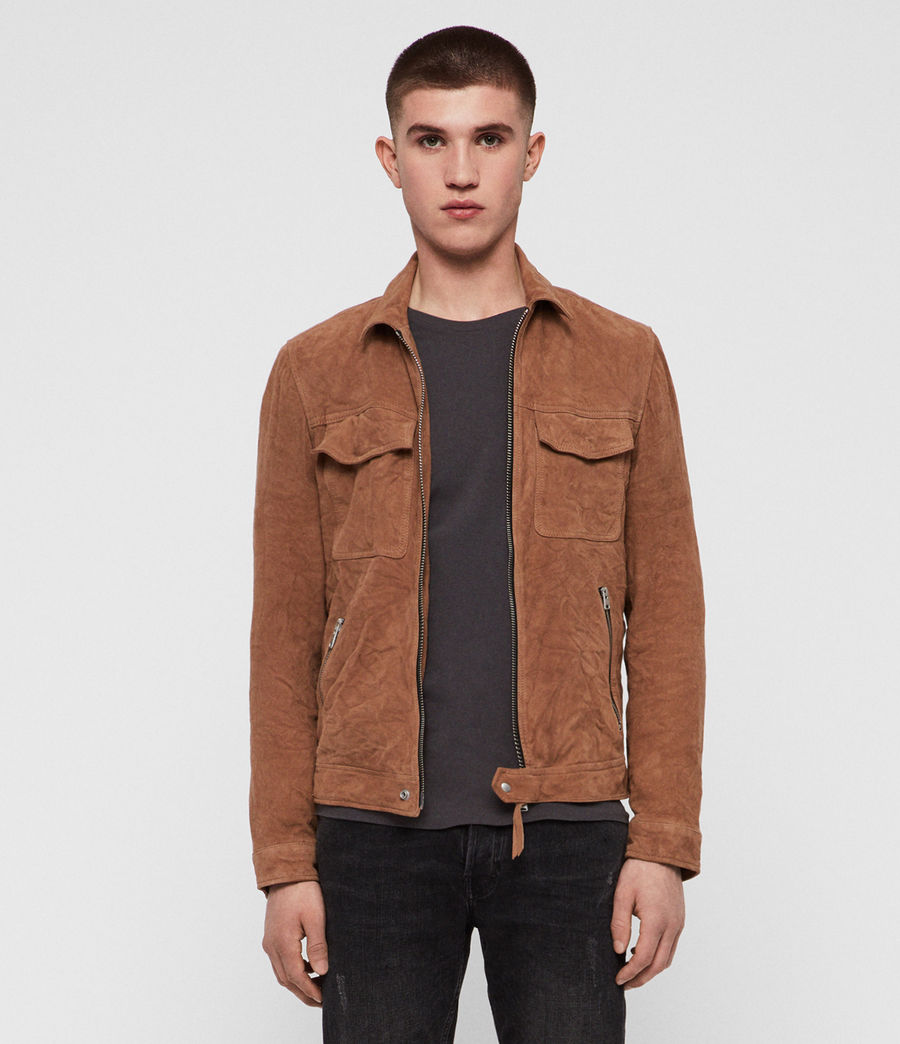 Men's Garter Suede Jacket (tan) - Image 1