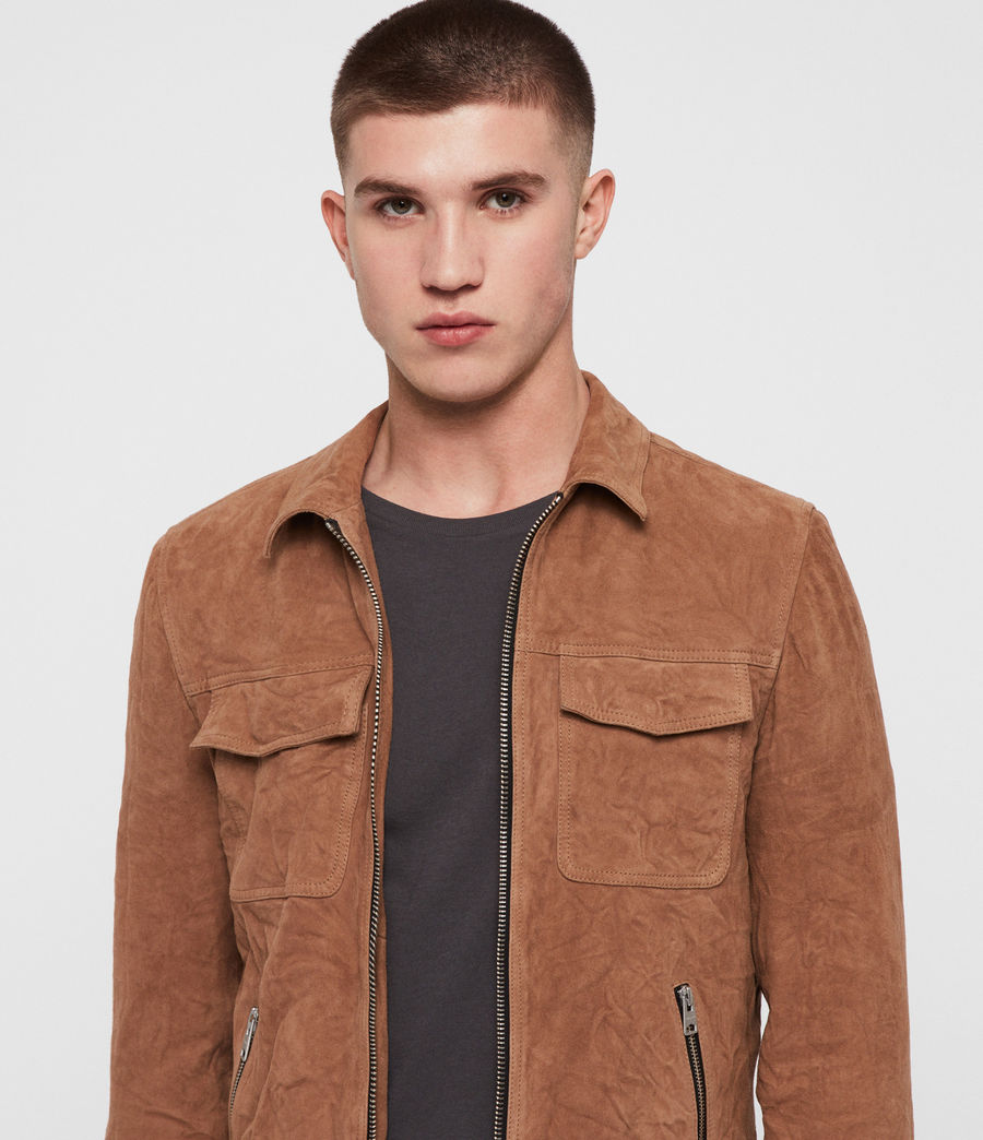 Men's Garter Suede Jacket (tan) - Image 2
