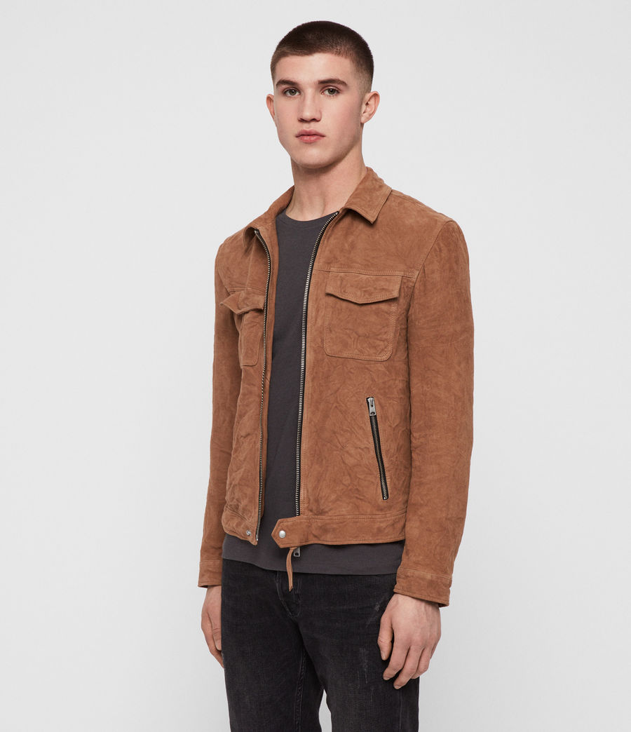 Men's Garter Suede Jacket (tan) - Image 3