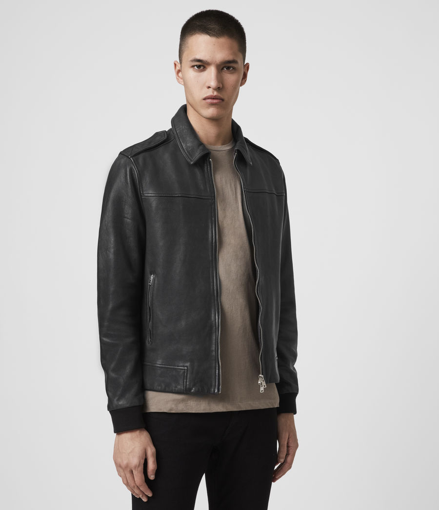Mens Junction Leather Jacket (black) - Image 4