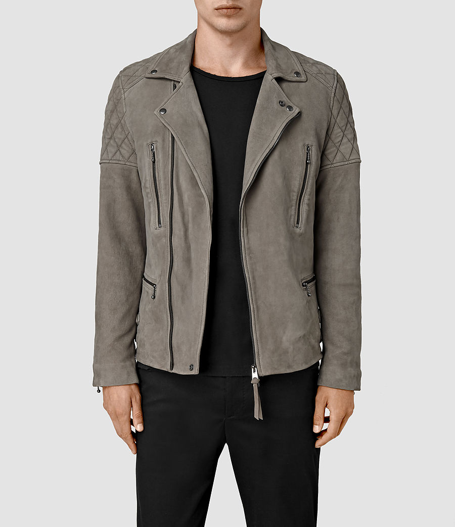 Mens Kenji Suede Biker Jacket (chrome_grey) - Image 1