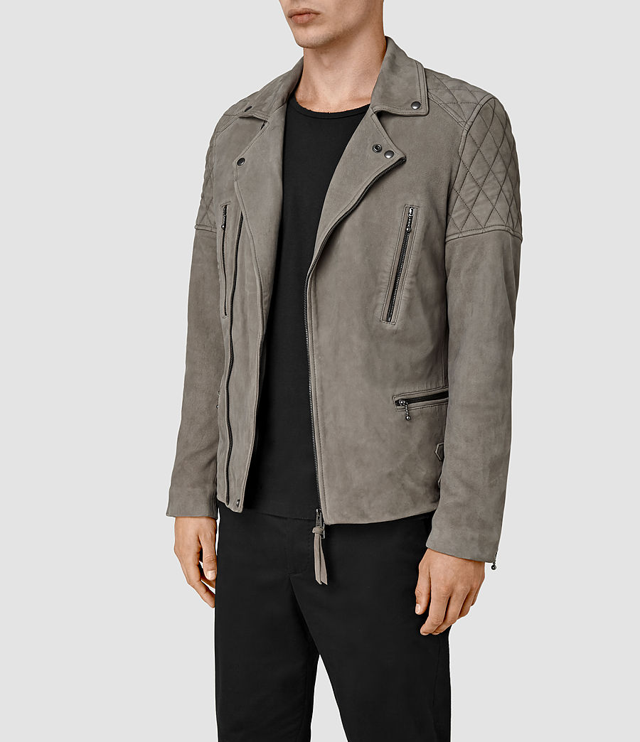 Mens Kenji Suede Biker Jacket (chrome_grey) - Image 3