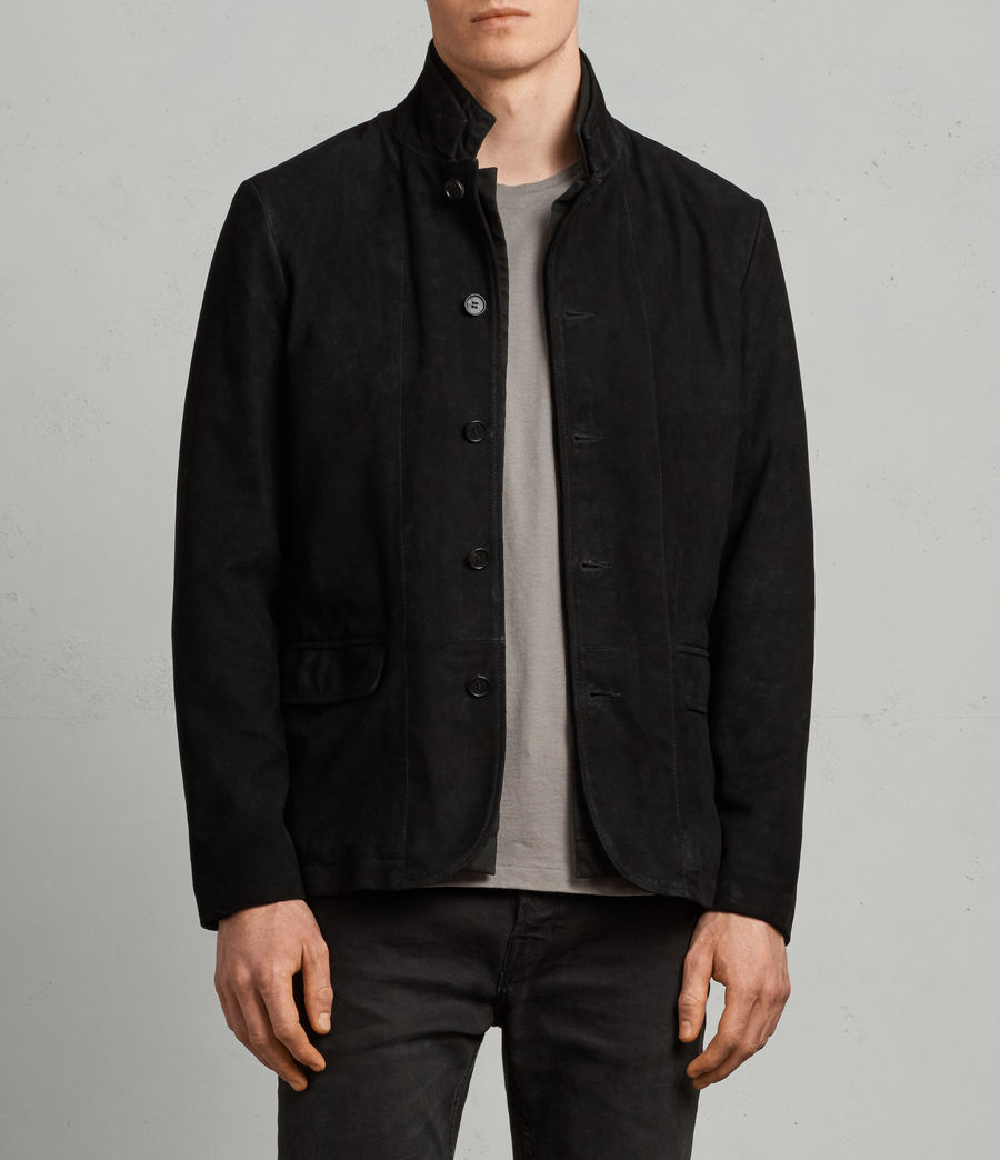 Mens Nolan Leather Blazer (black_charcoal) - Image 1