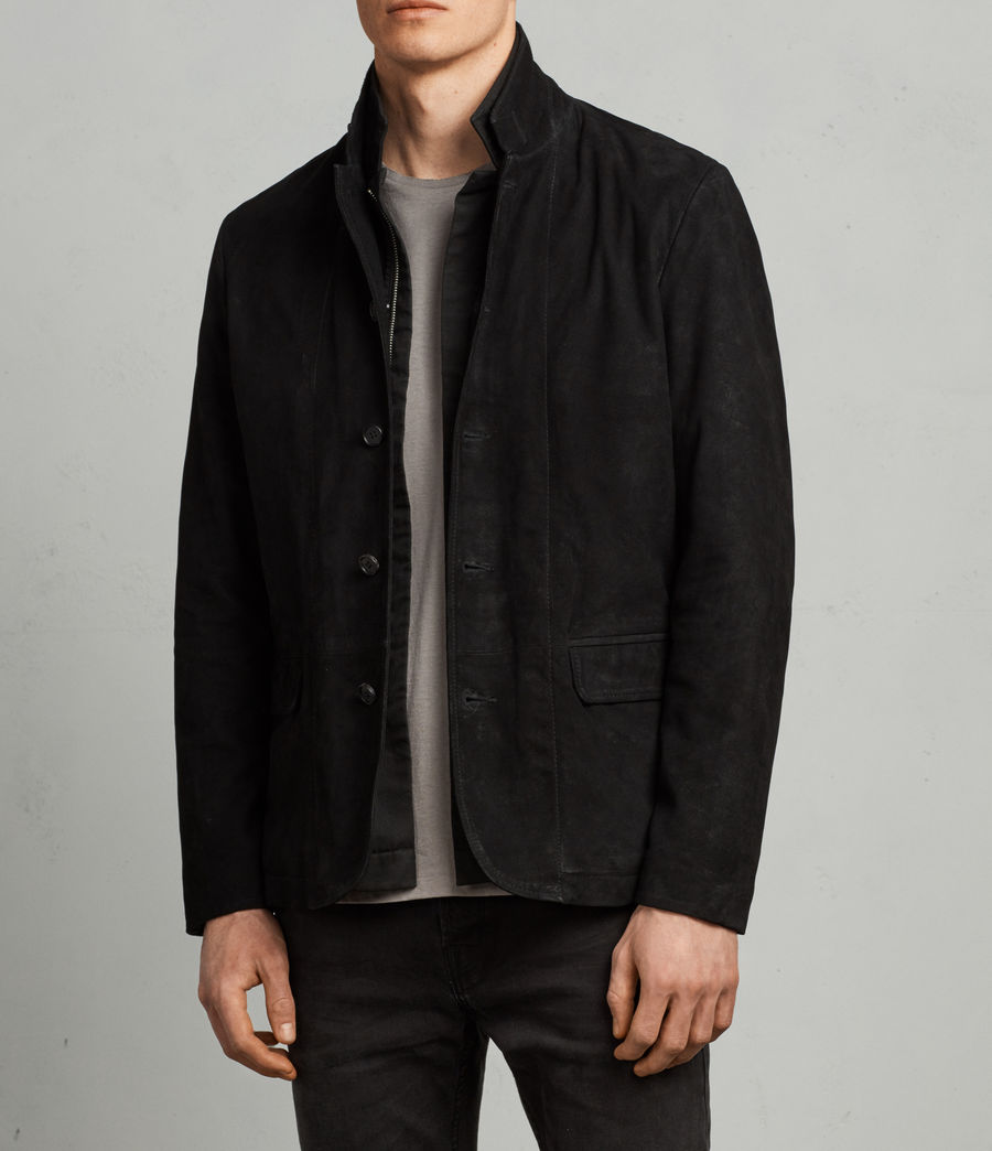 Mens Nolan Leather Blazer (black_charcoal) - Image 3